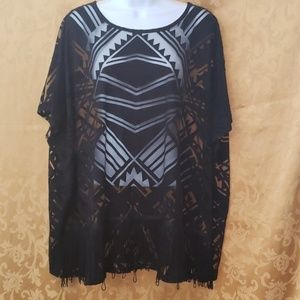 Pretty Sheer Black Blouse with Fringe Detail szXL